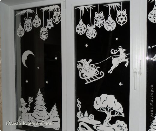 Новогодний рисунок на окнах