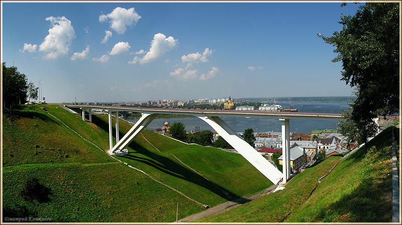 Панорама Нижнего Новгорода. Пешеходный мостик