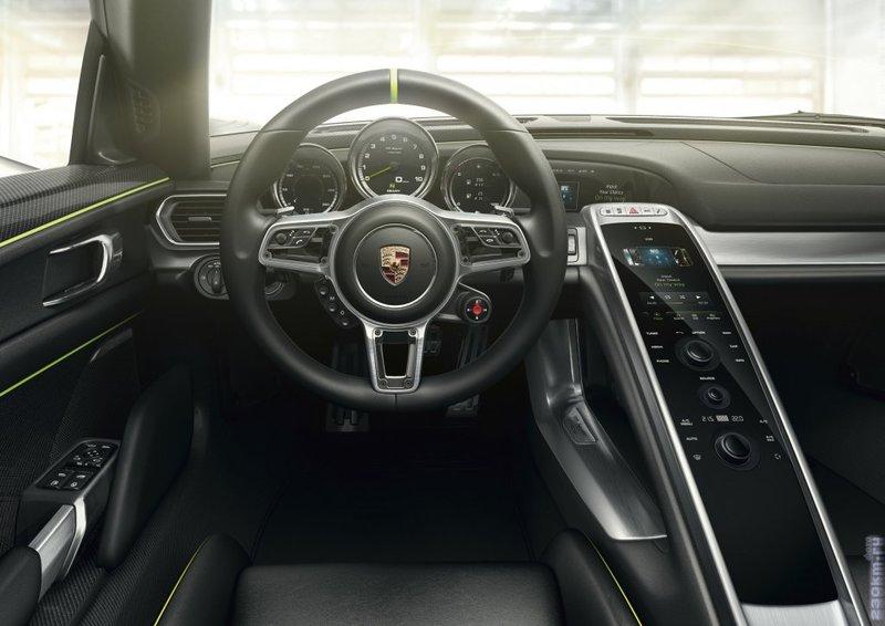 Porsche 918 Spyder 2013 кабриолет - интерьер-салон, экстерьер-внешний вид-кузов, приборная панель, багажник