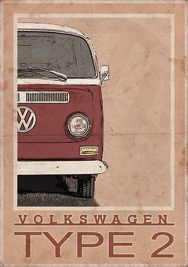 vintage vw van posters