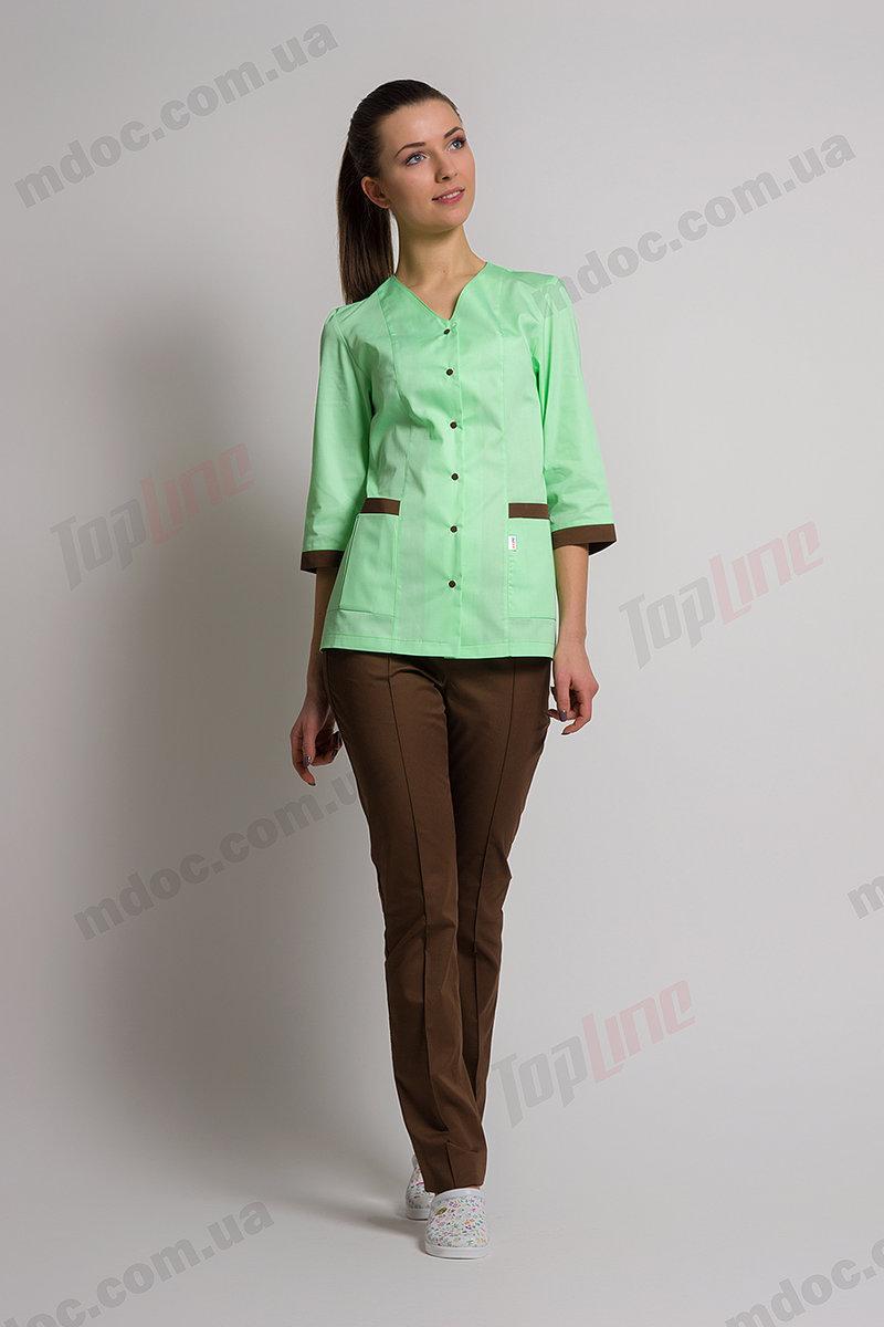 №74 TopLine медицинский костюм Сингапур женский комбинированный мятный/коричневый котоновый Модный Доктор +