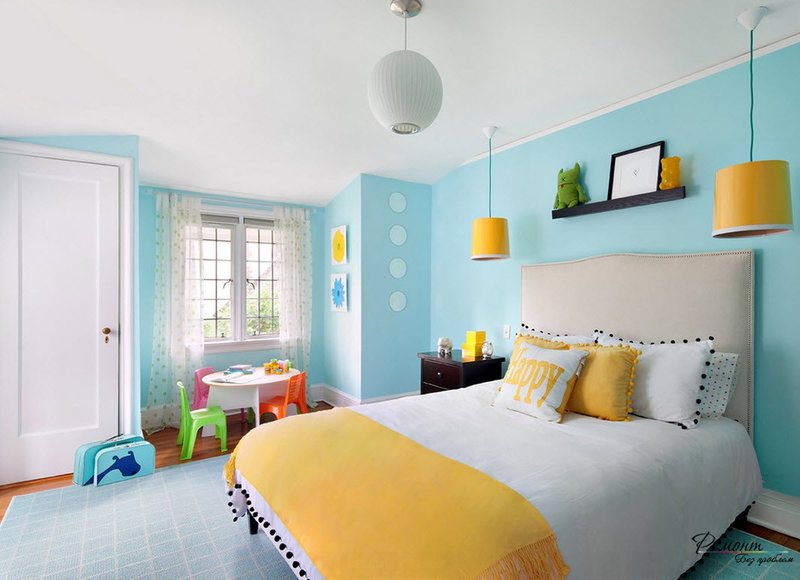 Бирюзовый фон для детской комнаты
