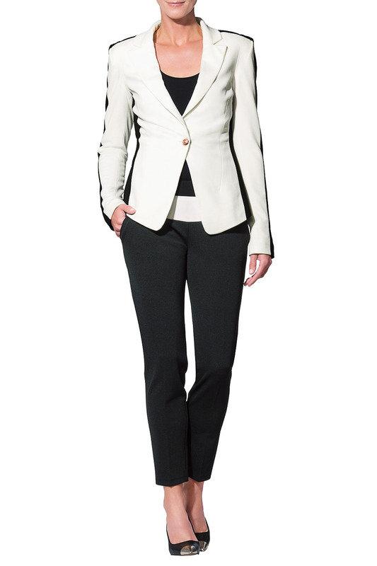 Блейзер Apart, цвет кремовый, черный, артикул W15111288906