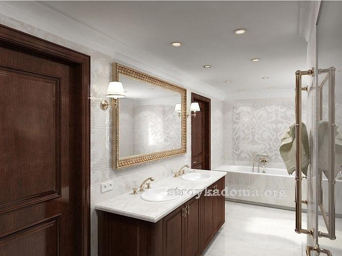 душевая с ванной в классическом стеле