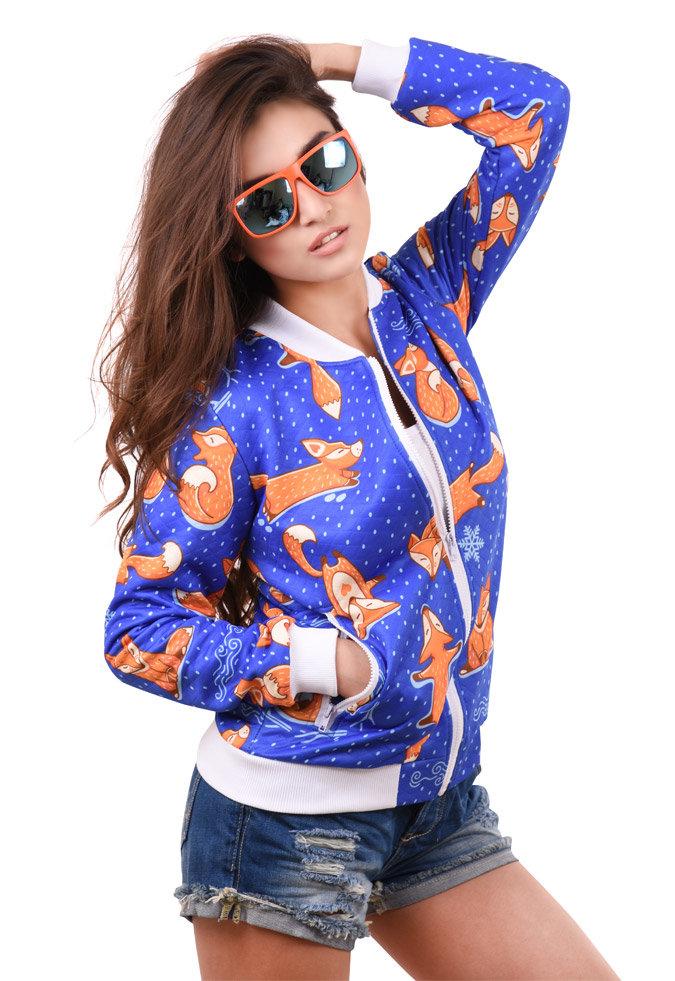 """картинка Бомбер женский """"Foxes"""" магазин Одежда+ являющийся официальным дистрибьютором в России"""