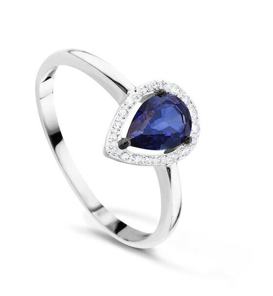 Кольцо с сапфирами и бриллиантами из белого золота, 51187