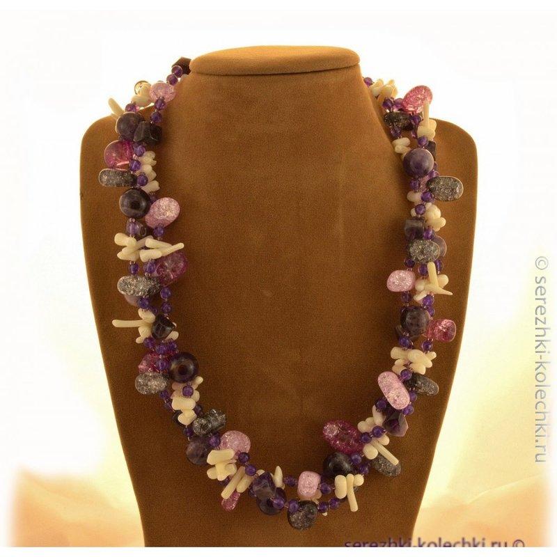 Коралловое ожерелье с аметистом и кварцем 04Б45461