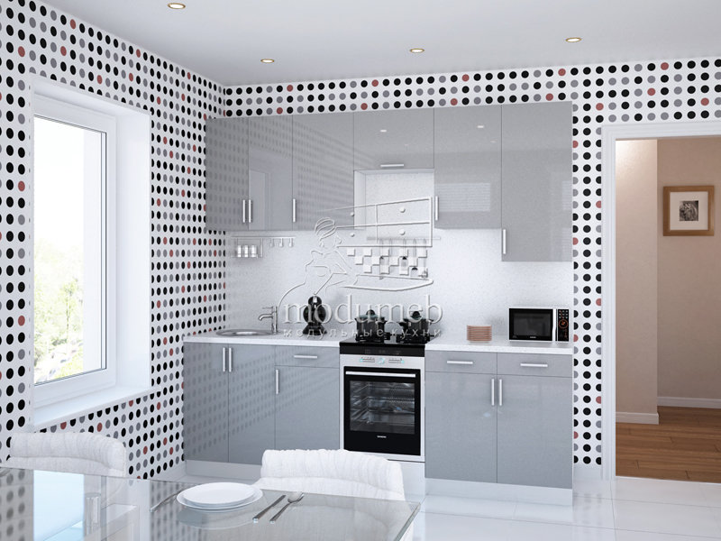 Кухнная мебель 2,3 м - фасад МДФ Глянец - Кухни на заказ по индивидуальным размерам - Каталог Мебели  | modumeb
