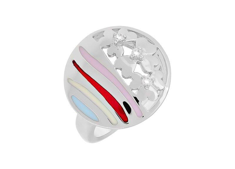Купить украшение - Кольцо с фианитом и эмалью из Серебра в интернет-магазине MagicGold.ru