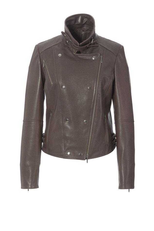Куртка из испанской кожи в стиле косуха с декоративными ремешками