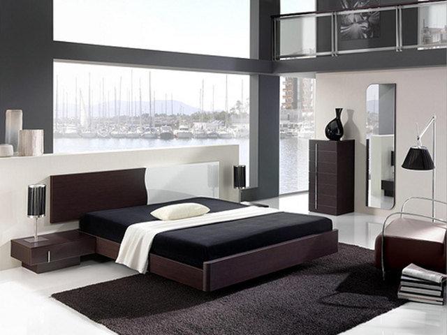 Минималистская спальня в черно-белых тонах