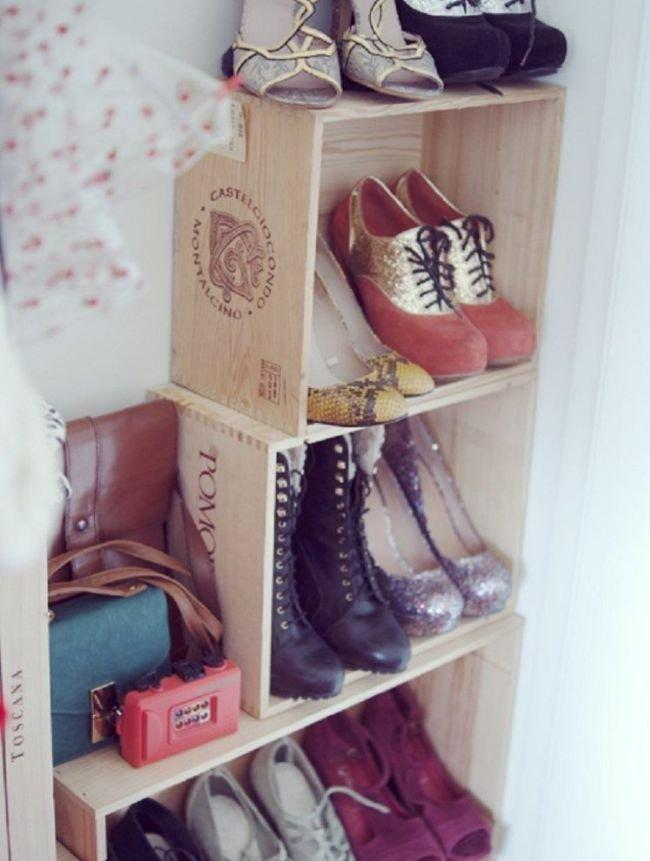 Обувница из деревянных коробок - просто и доступно