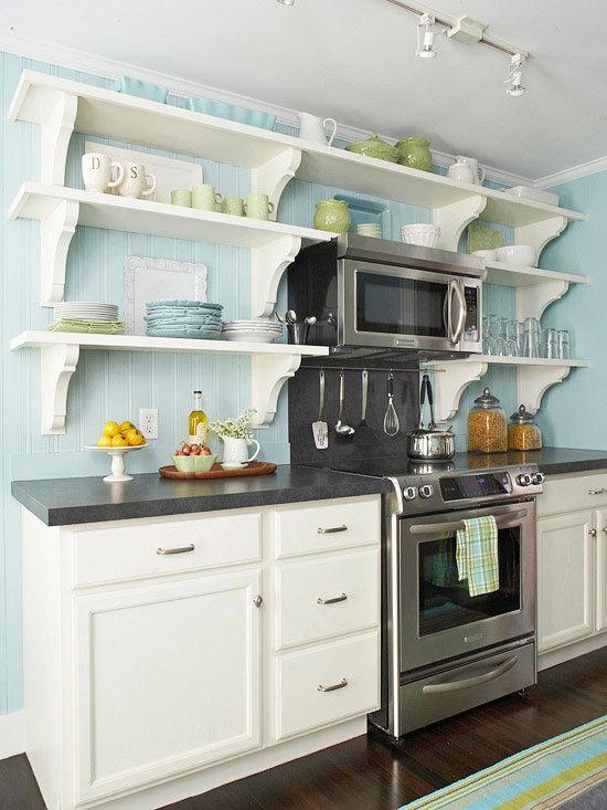 Кухня с открытыми полками дизайн