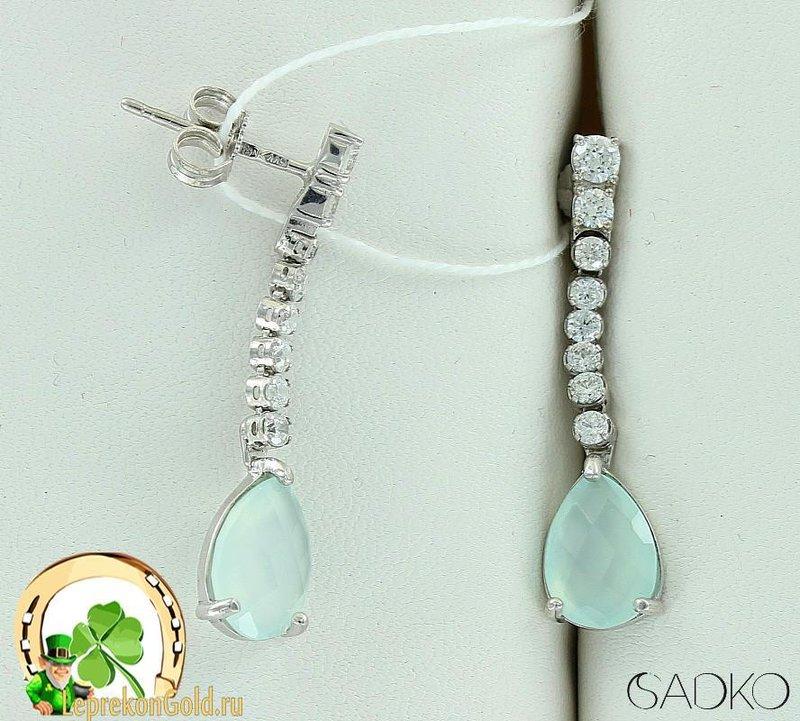 Серебряные серьги с ониксом и кристаллами Сваровски 3 см Садко 4602445 фото