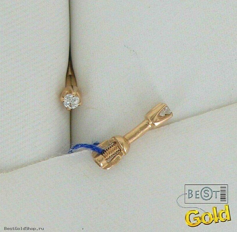Серьги гвоздики - золотые пусеты - Золотые серьги с фианитами [31-123645], art. 021054 :: Ювелирный магазин - www.BestGoldShop.ru