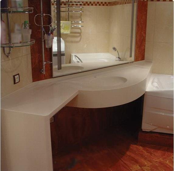 столешница с цельнолитой раковиной в ванную комнату
