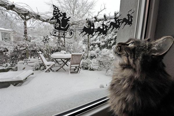 Трафареты на окна к Новому году 2016. Как украсить окно новогодними трафаретами? | вТему