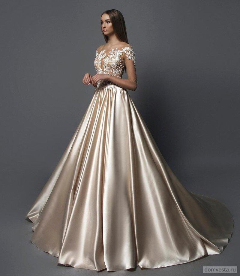 Свадебные платья бежево белые