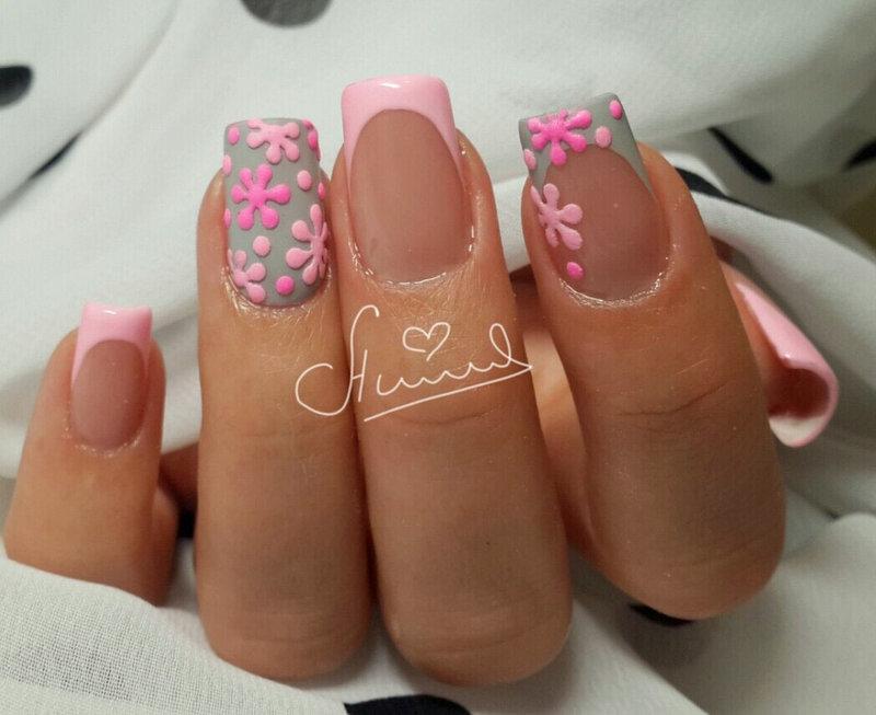 Фото дизайн ногтей френч розовый