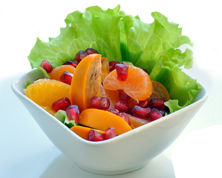Фруктовый салат из хурмы, цитрусовых и граната - Фруктовые салаты - Рецепты - Вкусные рецепты на каждый день