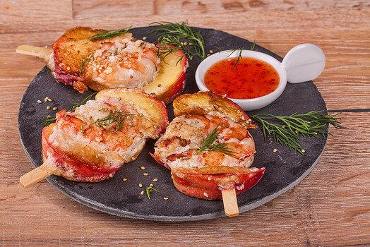 Креветки с нектаринами и кунжутом | Морепродукты | Рецепты | Cook'N'Talk
