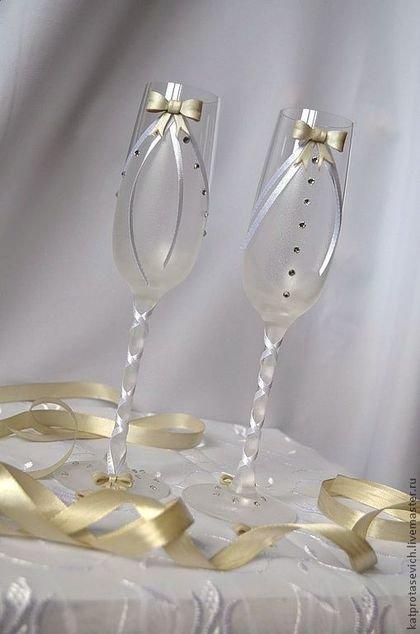 """Свадебные аксессуары ручной работы. Ярмарка Мастеров - ручная работа. Купить Свадебные бокалы ручной работы """"Elegant"""". Handmade. Белый"""