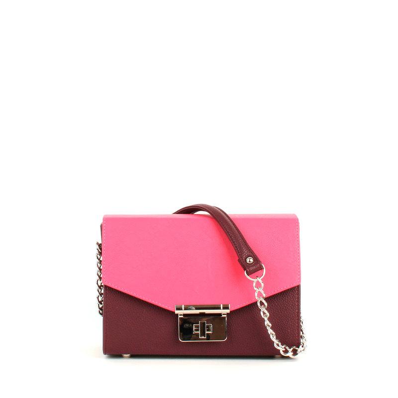 Женская сумка с ремешком через плечо и коротким ремешком-цепочкой в цвете бордо-фуксия, удобная, компактная, стильная, яркая, прекрасно организует вещи.
