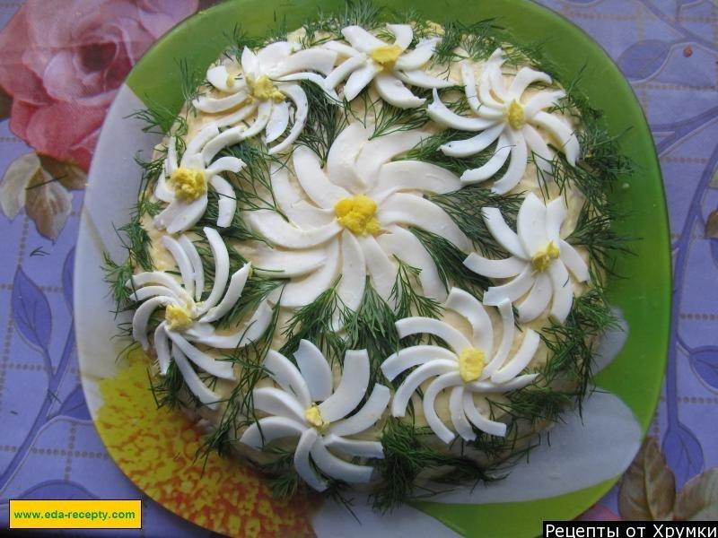 Фото украшение салата ромашки