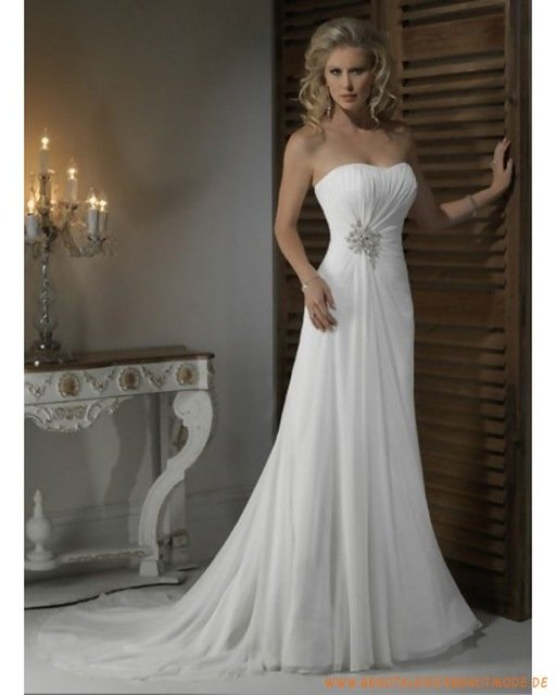 5fd18e7fd9281ab ... Купить товар Великолепная vestido де noiva дешевые свадебные платья  белого шифона Ruched дизайн без бретелек одеяние