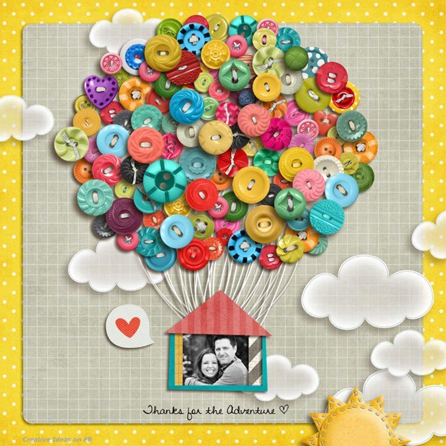 Картинки, воздушный шар из пуговиц на открытке