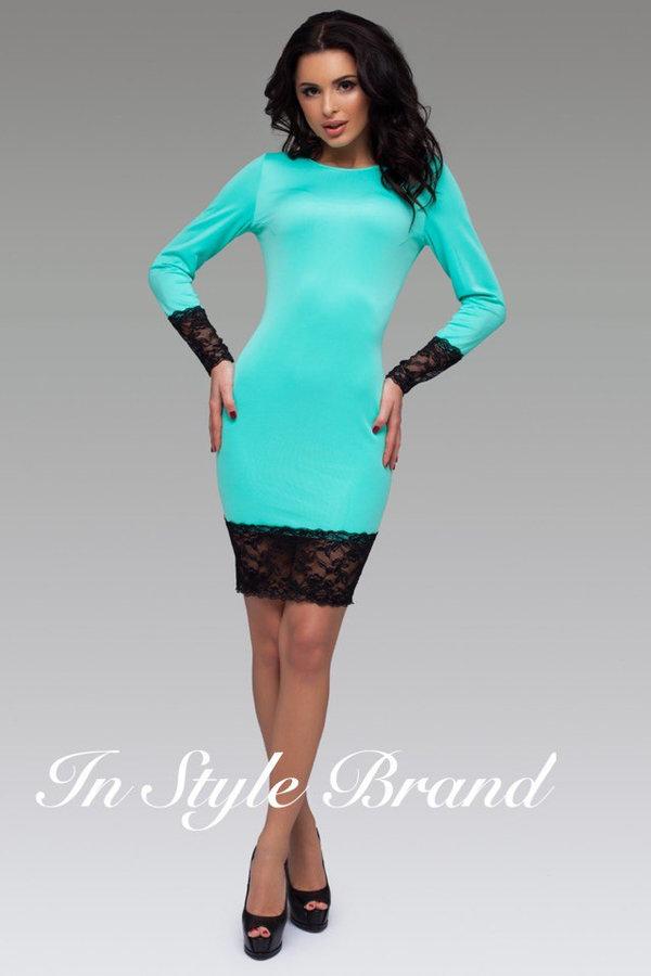 918770400b9 Элегантное платье цвета морской волны с черными кружевными вставками.