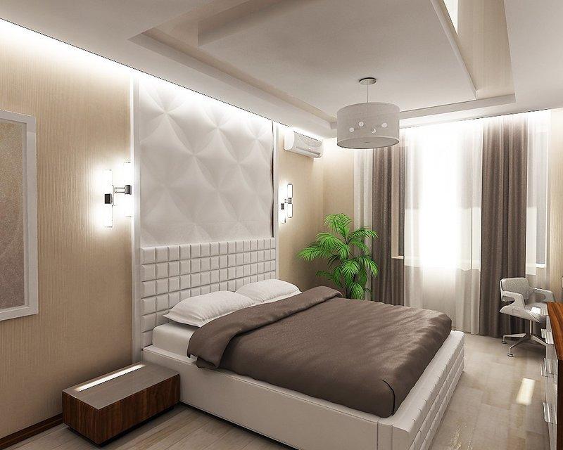 Минимализм в интерьере светлой спальни