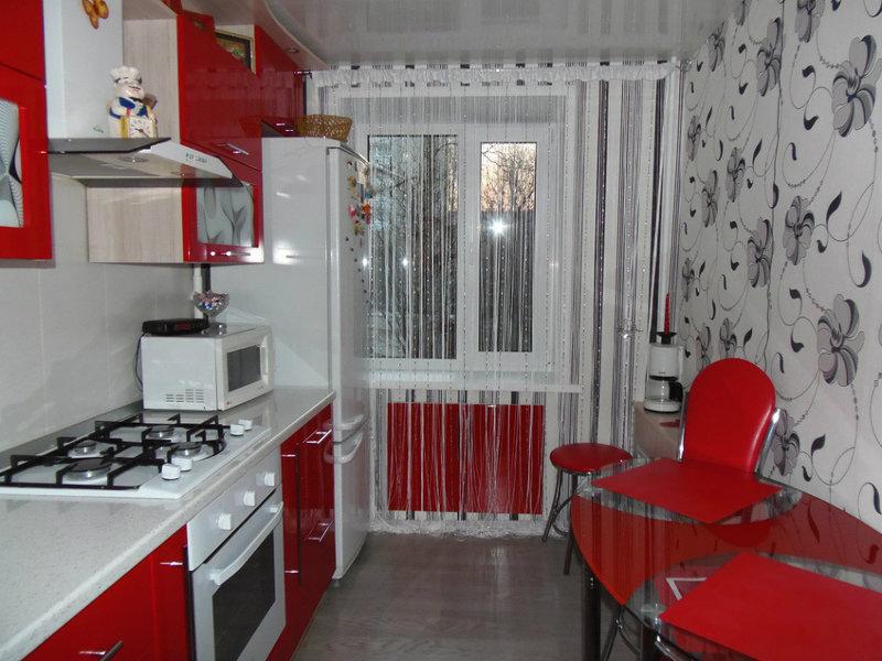 интерьер кухни красной фото