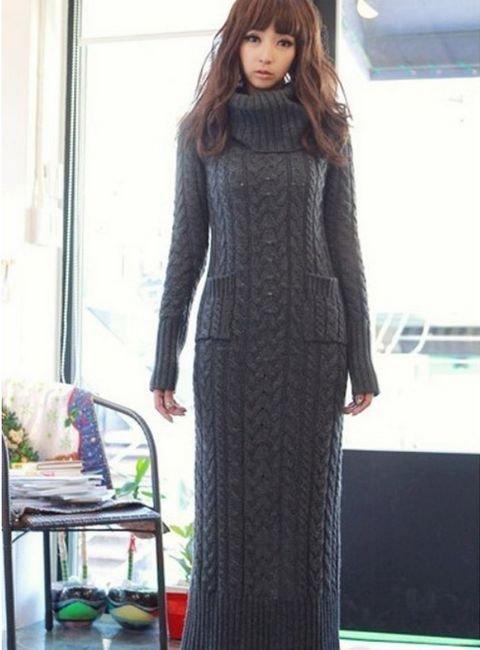 Платье вязаное с карманами