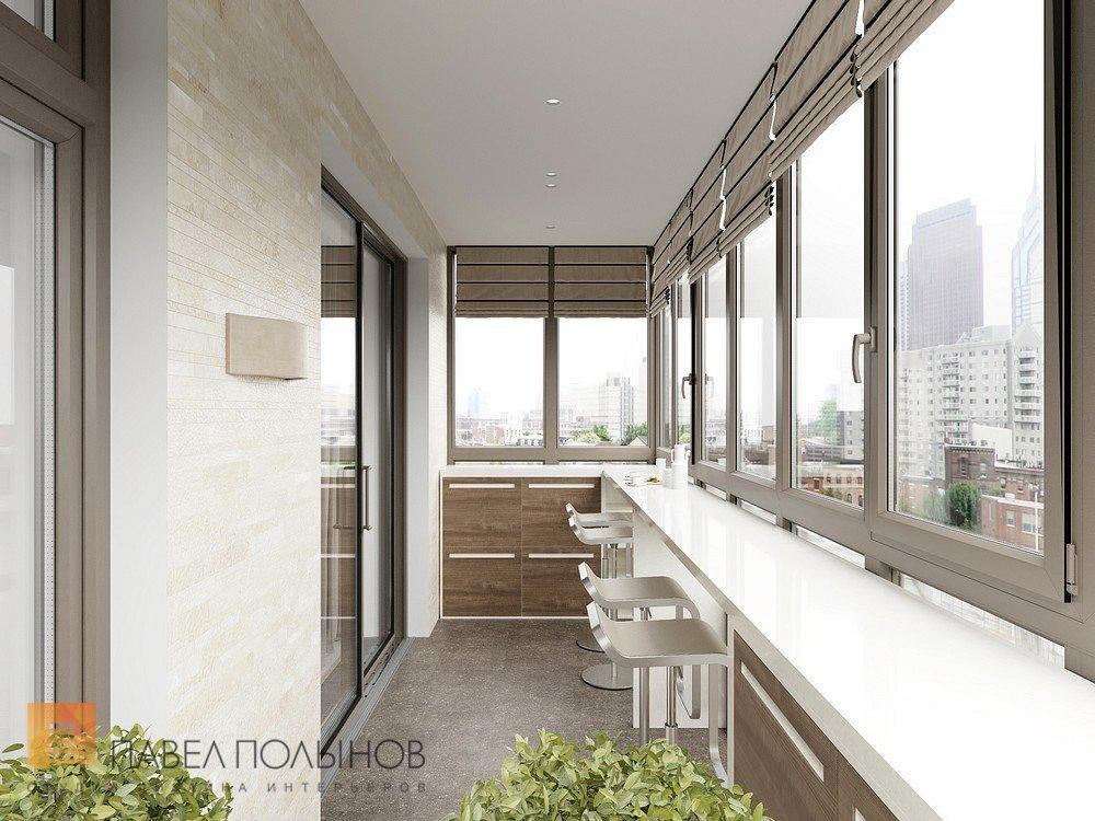 Лоджия в современном стиле. интерьера элитной квартиры выпол.