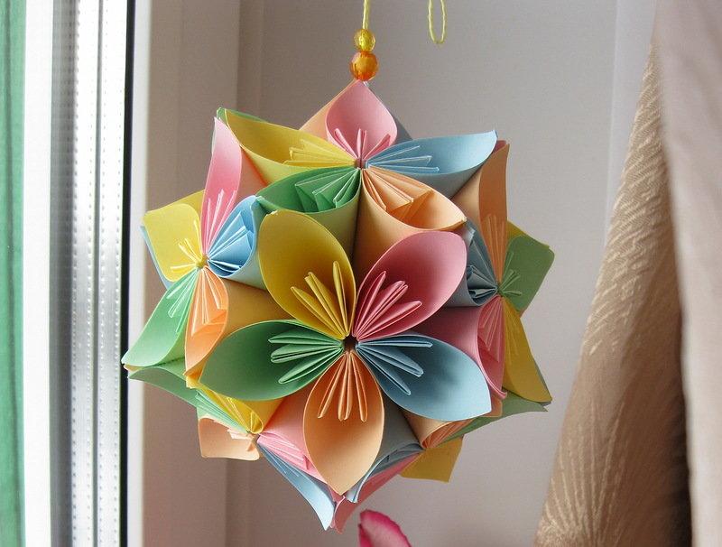 Японское оригами из бумаги кусудама 123
