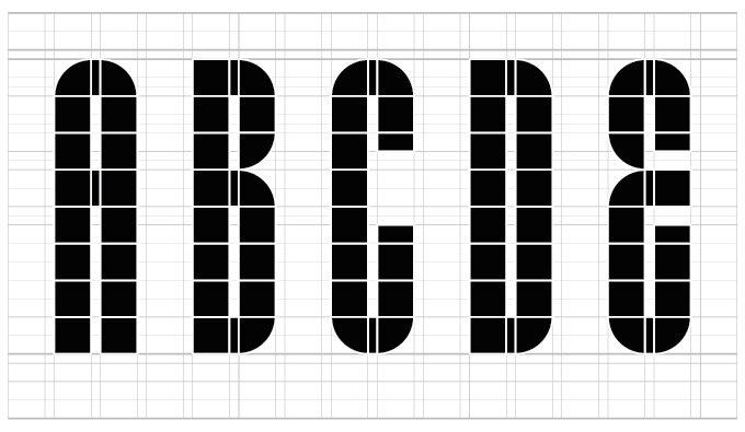 Lustig Elements - Шрифт на основе модульной сетки