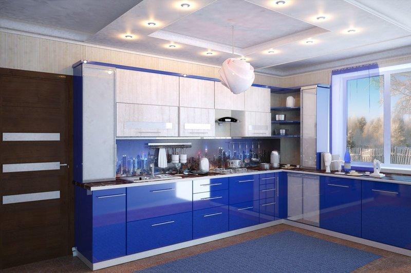 фото бело синяя кухня