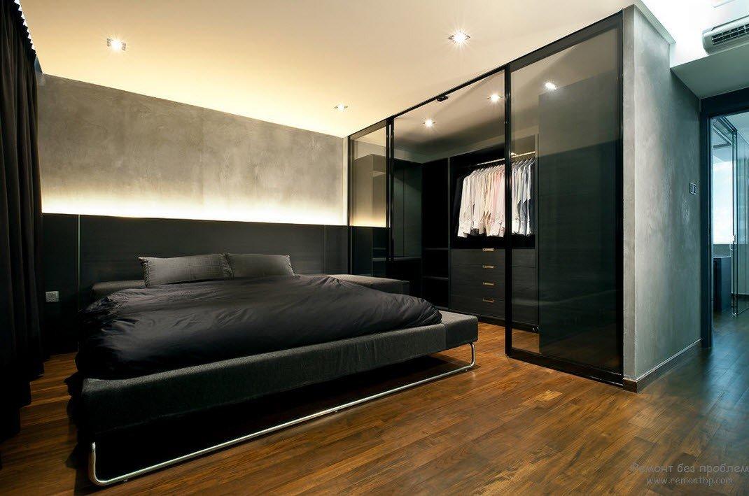 спальня в стиле лофт в темных тонах зонирование дизайн Card