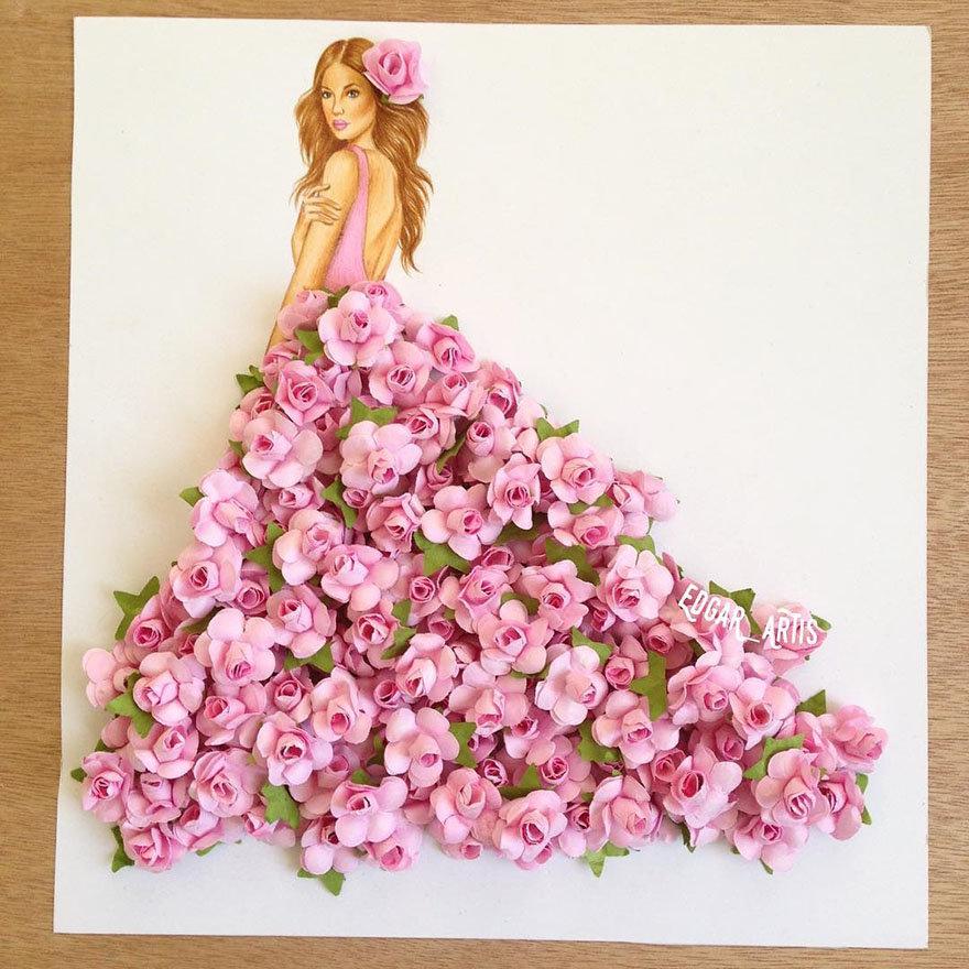 Открытки платья из цветов, днем рождения