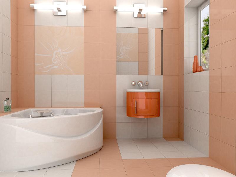 Креативная отделка небольшой ванной плиткой