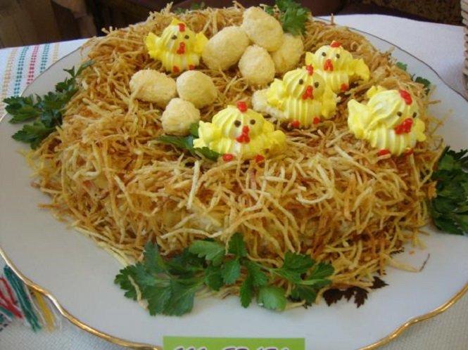 гнездо салат с фото