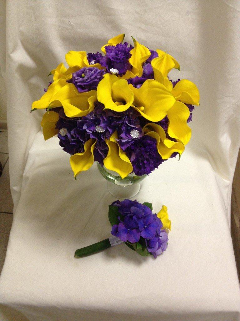 Букет желтый и фиолетовый