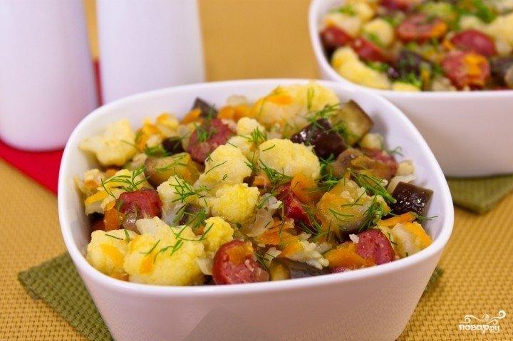 блюдо из баклажана и цветной капусты