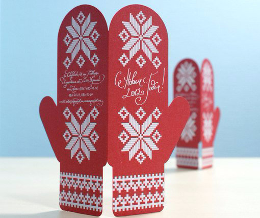Открытка в виде рукавички, открытки