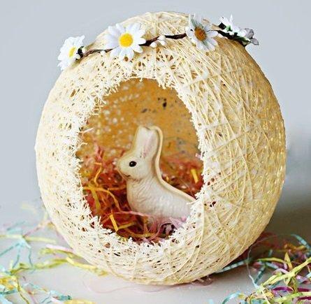 Пасхальная корзиночка в форме яйца.