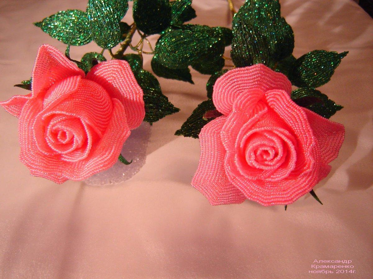 Букет роз из бисера в картинках