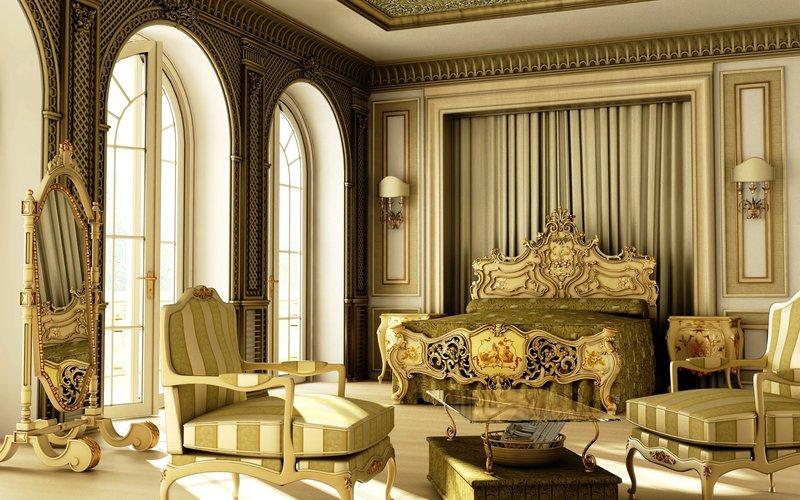 Кровать с дворцовым декором