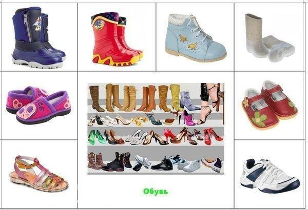 Наглядное пособие для детского сада в картинках обувь