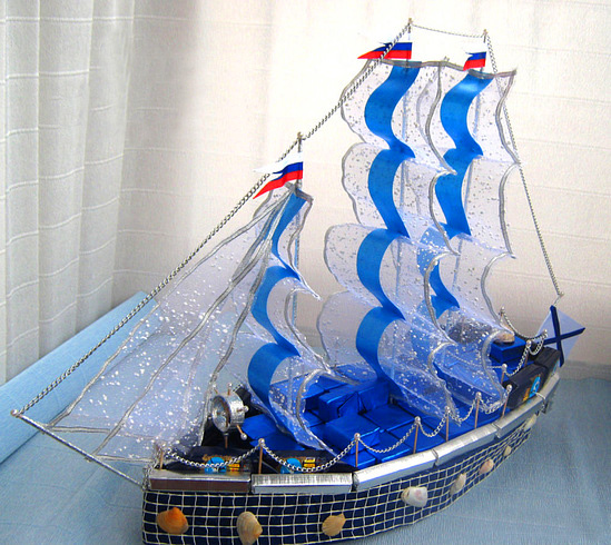 Корабль в подарок на свадьбу своими руками 48